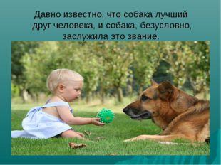 Давно известно, что собака лучший друг человека, и собака, безусловно, заслуж