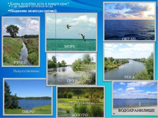 Где бывает солёная вода ? Какие вы знаете водоёмы? ОКЕАН МОРЕ РЕКА ОЗЕРО ПРУ