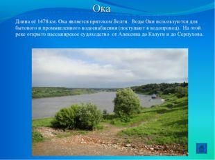 Ока Длина её 1478 км. Ока является притоком Волги. Воды Оки используются для