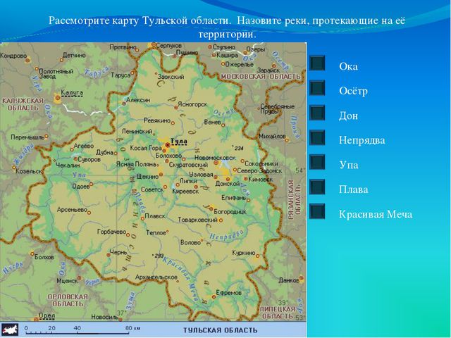 Рассмотрите карту Тульской области. Назовите реки, протекающие на её территор...