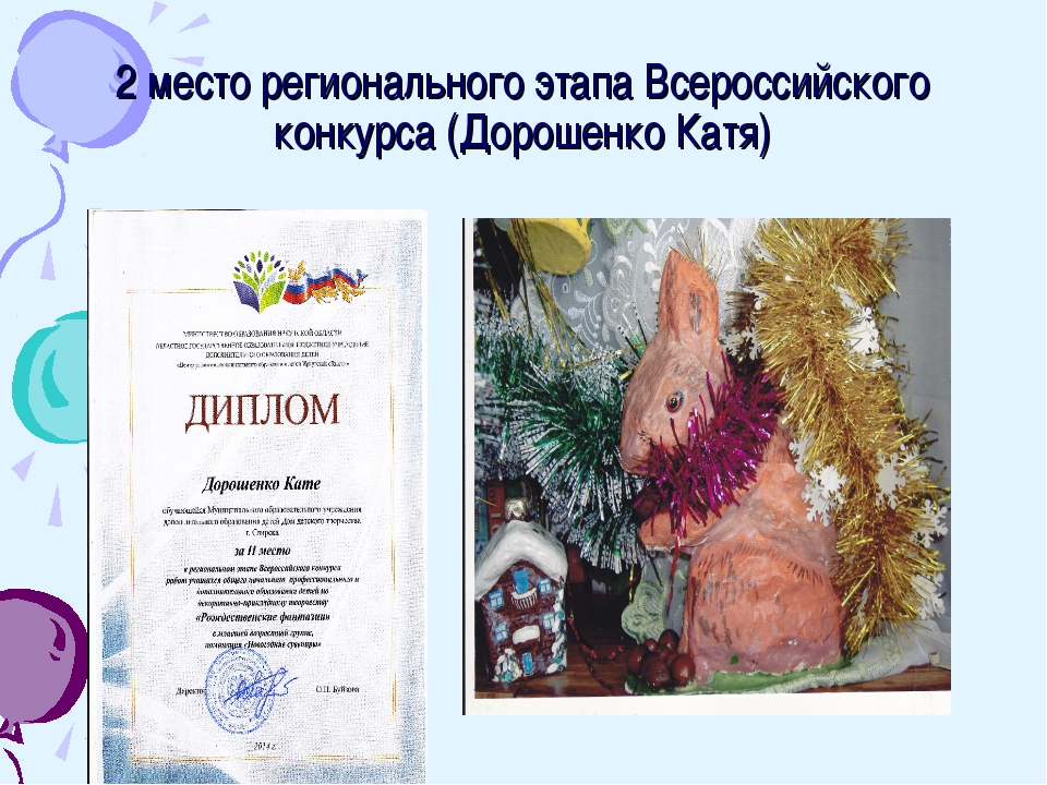 2 место регионального этапа Всероссийского конкурса (Дорошенко Катя)