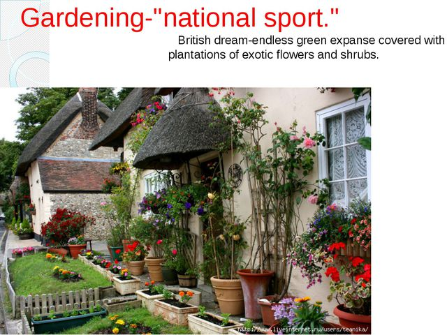 "Gardening-""national sport."" British dream-endless green expanse covered with..."