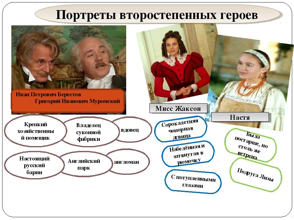 Иван Петрович Берестов Григорий Иванович Муромский вдовец англоман Владелец с...