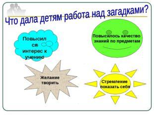 Повысился интерес к учению Повысилось качество знаний по предметам Стремление