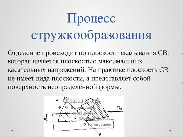 Процесс стружкообразования Отделение происходит по плоскости скалывания СВ, к...