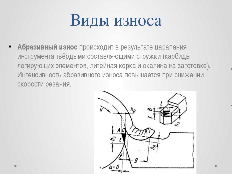 Виды износа Абразивный износ происходит в результате царапания инструмента тв...