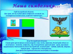 Герб Белгородской области. Это щит, где на голубом фоне изображен желтый лев