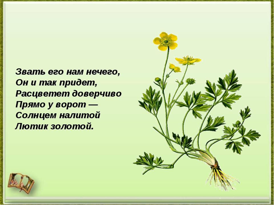 Звать его нам нечего, Онитак придет, Расцветет доверчиво Прямо уворот— Со...