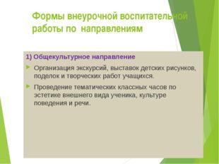 Формы внеурочной воспитательной работы по направлениям 1) Общекультурное нап