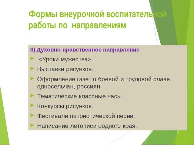 Формы внеурочной воспитательной работы по направлениям 3) Духовно-нравственн...