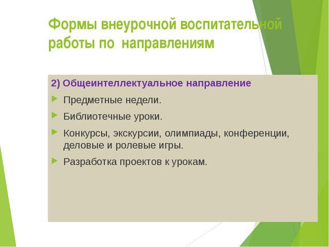 Формы внеурочной воспитательной работы по направлениям 2) Общеинтеллектуальн...
