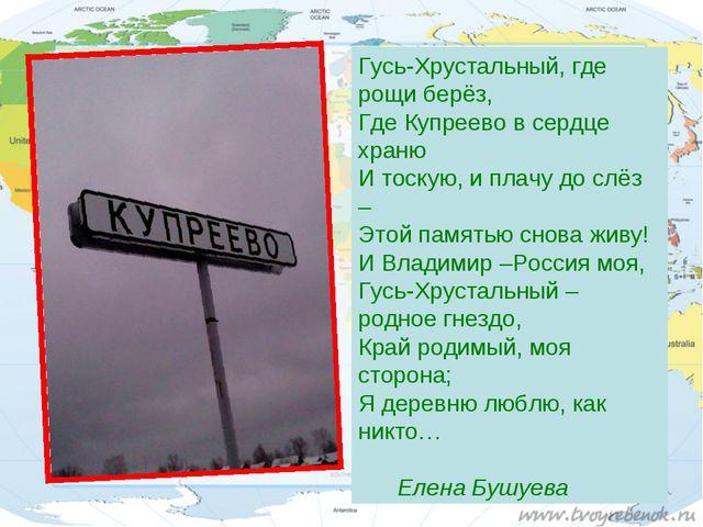 Гусь-Хрустальный, где рощи берёз, Где Купреево в сердце храню И тоскую, и пла...