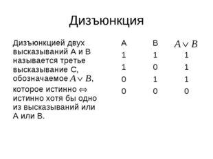 Дизъюнкция Дизъюнкцией двух высказываний А и В называется третье высказывание