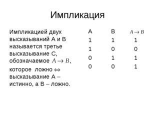 Импликация Импликацией двух высказываний А и В называется третье высказывание