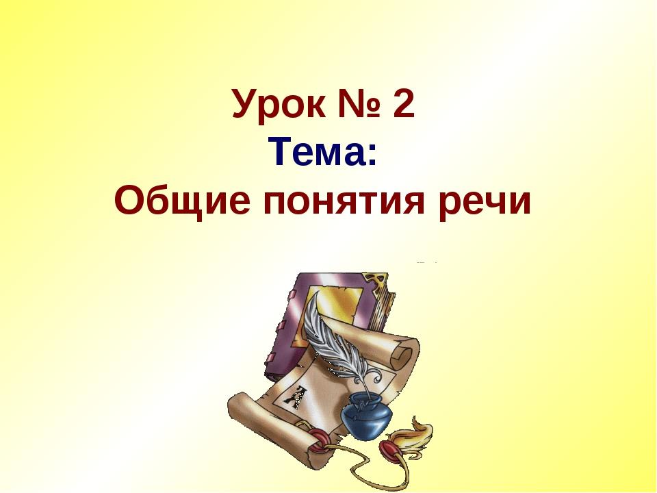 Урок № 2 Тема: Общие понятия речи