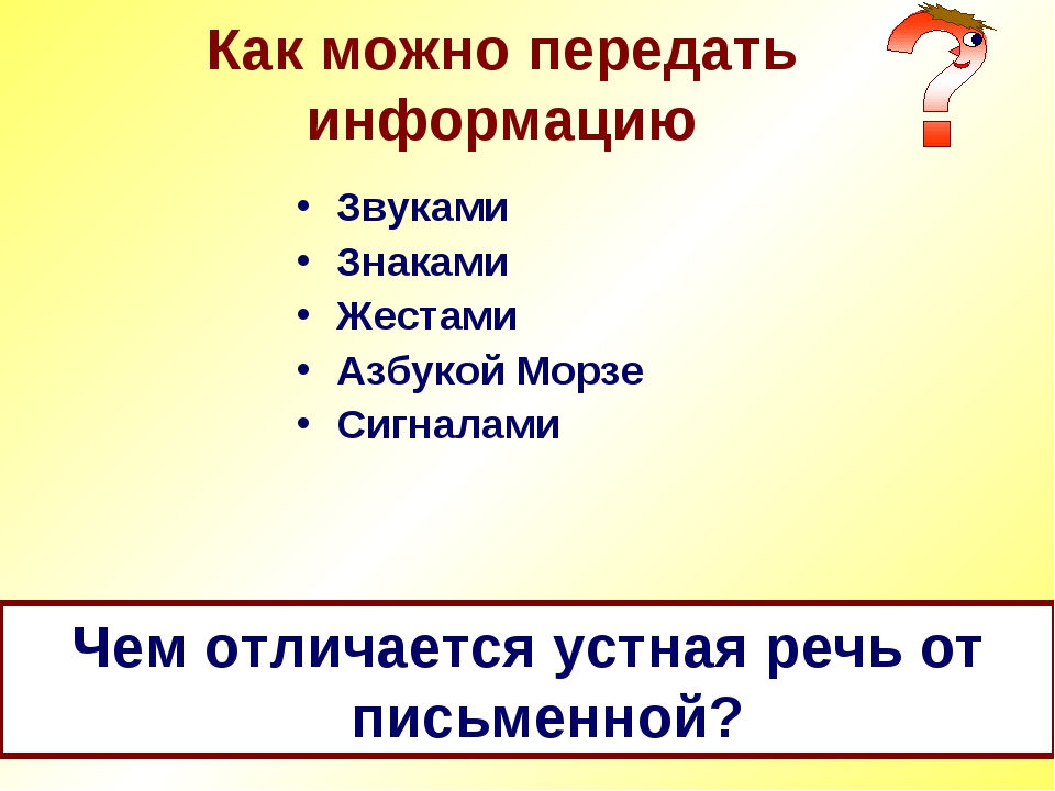 Как можно передать информацию Звуками Знаками Жестами Азбукой Морзе Сигналами...