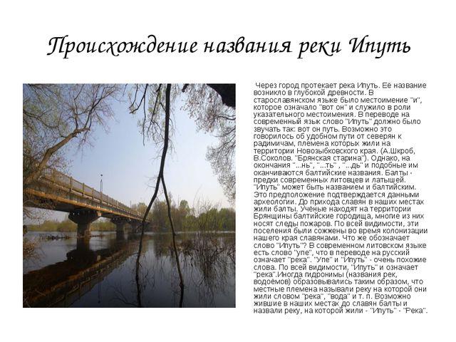 Происхождение названия реки Ипуть Через город протекает река Ипуть. Её назван...