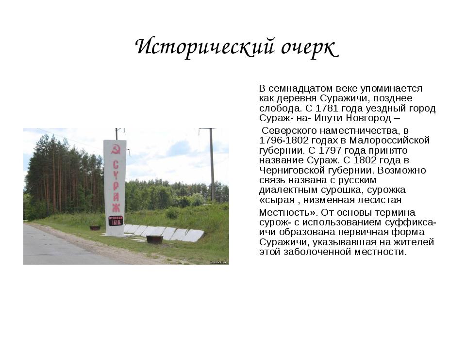 Исторический очерк В семнадцатом веке упоминается как деревня Суражичи, поздн...