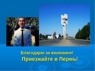 Благодарю за внимание! Приезжайте в Пермь!