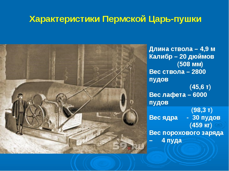Характеристики Пермской Царь-пушки Длина ствола – 4,9 м Калибр – 20 дюймов (5...