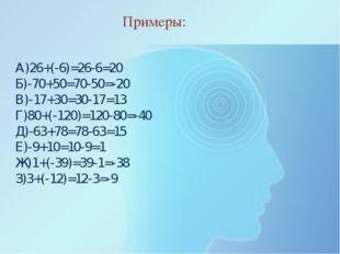 А)26+(-6)=26-6=20 Б)-70+50=70-50=-20 В)-17+30=30-17=13 Г)80+(-120)=120-80=-40