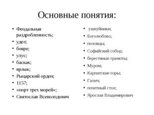 Основные понятия: ушкуйники; Боголюбово; половцы; Софийский собор; берестяные