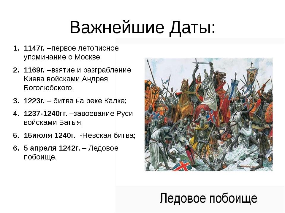 Важнейшие Даты: 1147г. –первое летописное упоминание о Москве; 1169г. –взятие...