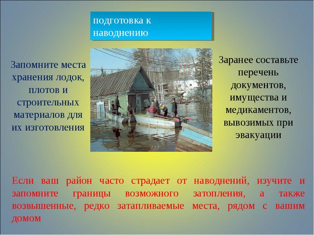 подготовка к наводнению Если ваш район часто страдает от наводнений, изучите...