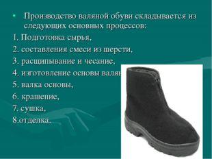 Производство валяной обуви складывается из следующих основных процессов: 1. П