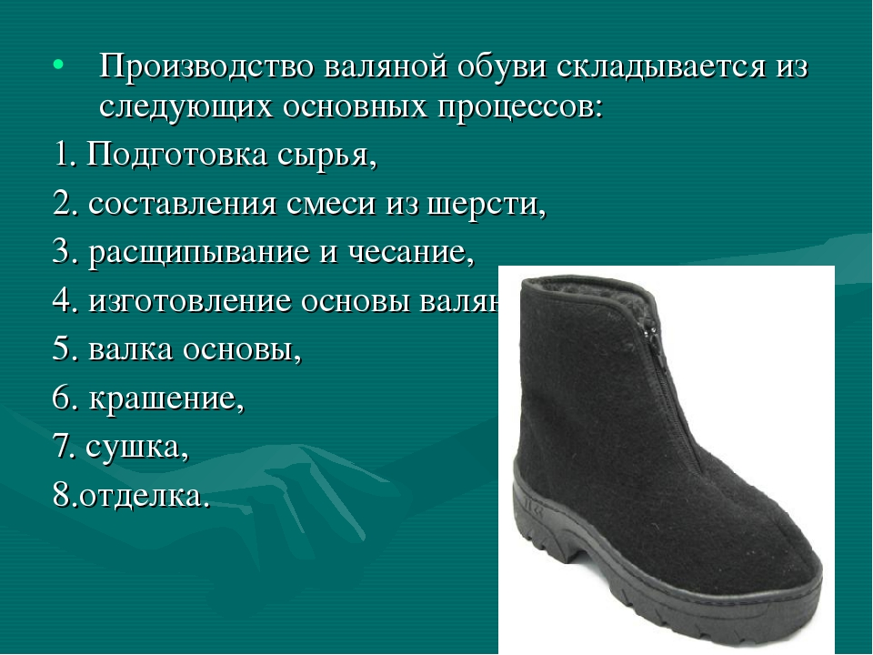 Производство валяной обуви складывается из следующих основных процессов: 1. П...