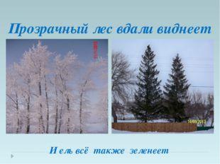Прозрачный лес вдали виднеет И ель всё также зеленеет