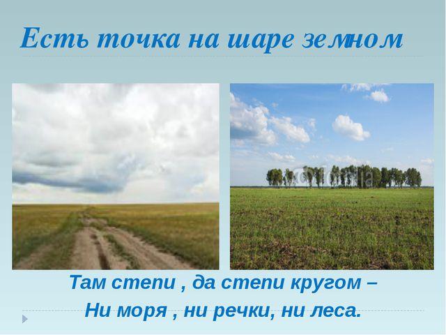 Есть точка на шаре земном Там степи , да степи кругом – Ни моря , ни речки, н...