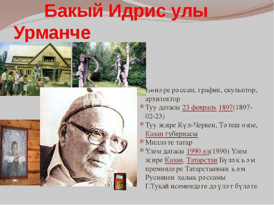 Һөнәре рәссам, график, скульптор, архитектор Туу датасы 23февраль 1897(1897-...