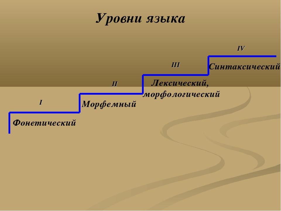 Синтаксический Лексический, морфологический Морфемный Фонетический I II III...