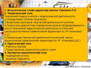 1. Вступительное слово директора школы Савченко Л.Н. 2. Теоретический этап. Т