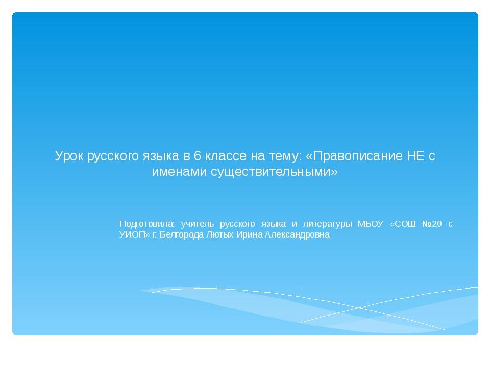 Урок русского языка в 6 классе на тему: «Правописание НЕ с именами существит...