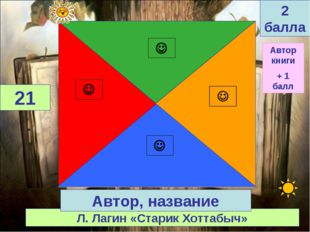 Л. Лагин «Старик Хоттабыч» 21 Автор, название 2 балла Автор книги + 1 балл