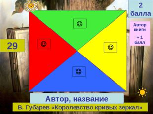В. Губарев «Королевство кривых зеркал» 29 Автор, название 2 балла Автор книги