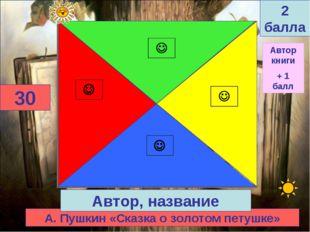 А. Пушкин «Сказка о золотом петушке» 30 Автор, название 2 балла Автор книги +