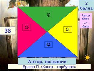 Ершов П. «Конек – горбунок» 36 Автор, название 2 балла Автор книги + 1 балл