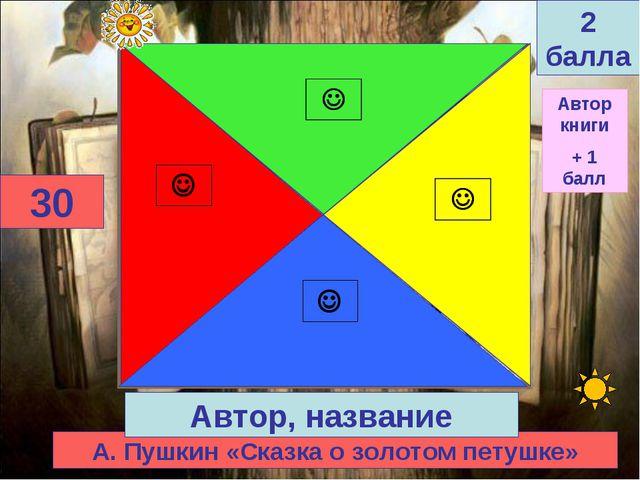 А. Пушкин «Сказка о золотом петушке» 30 Автор, название 2 балла Автор книги +...