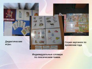 Индивидуальные словари по лексическим темам. Дидактические игры. Серия картин