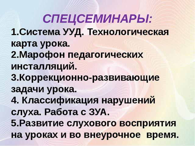 СПЕЦСЕМИНАРЫ: 1.Система УУД. Технологическая карта урока. 2.Марофон педагогич...
