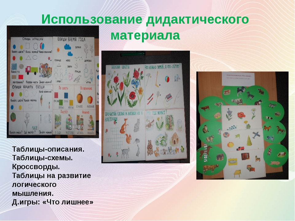 Использование дидактического материала Таблицы-описания. Таблицы-схемы. Кросс...