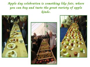 Apple day celebration is something like fair, where you can buy and taste the