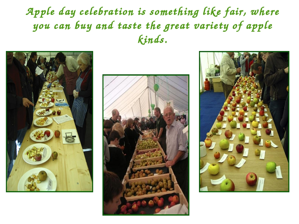 Apple day celebration is something like fair, where you can buy and taste the...