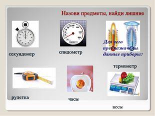 Назови предметы, найди лишние секундомер спидометр термометр рулетка часы вес