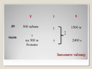 Заполните таблицу 500 м/мин ? на 300 м больше ? ? 1500 м 2400 м ? VtS до