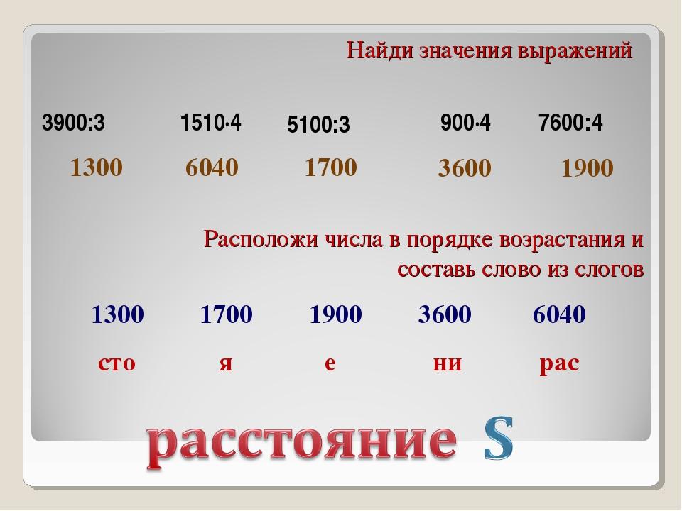 1300 6040 1900 3600 1700 Найди значения выражений Расположи числа в порядке в...