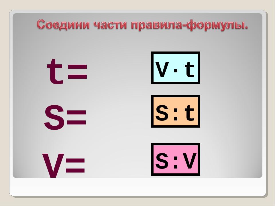 V·t S:t S:V S= V= t=
